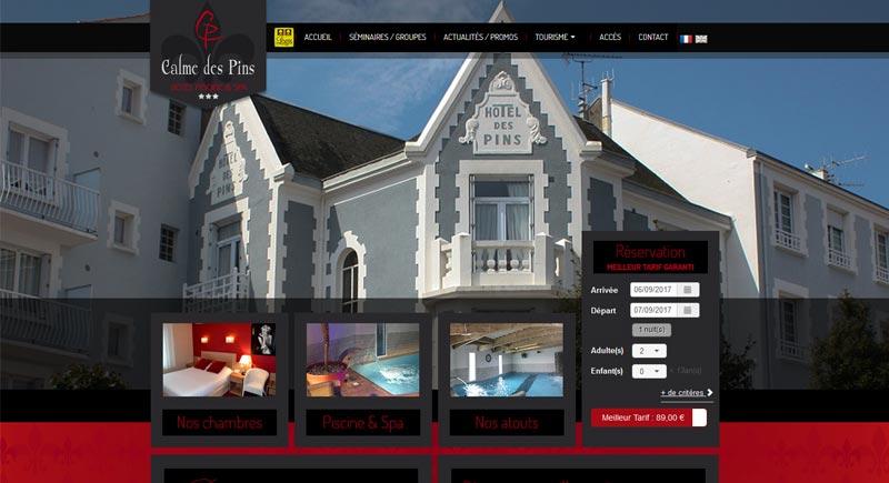 Création site hôtel le Calme des Pins Les Sables d'Olonne