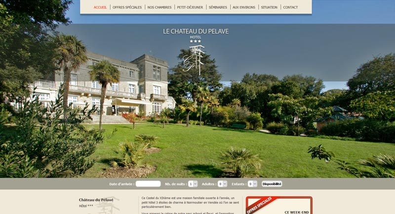 Création Site Hôtel Château du Pélavé Noirmoutier