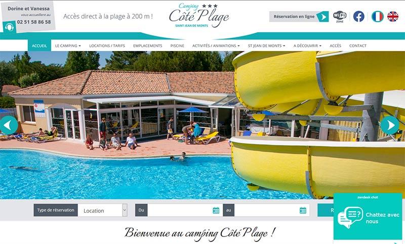 création site internet camping Côté Plage à St Jean de Monts